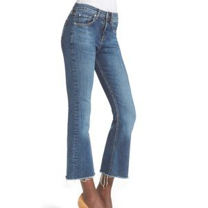 Rag & Bone High Rise Raw Edge Crop Flare Jeans